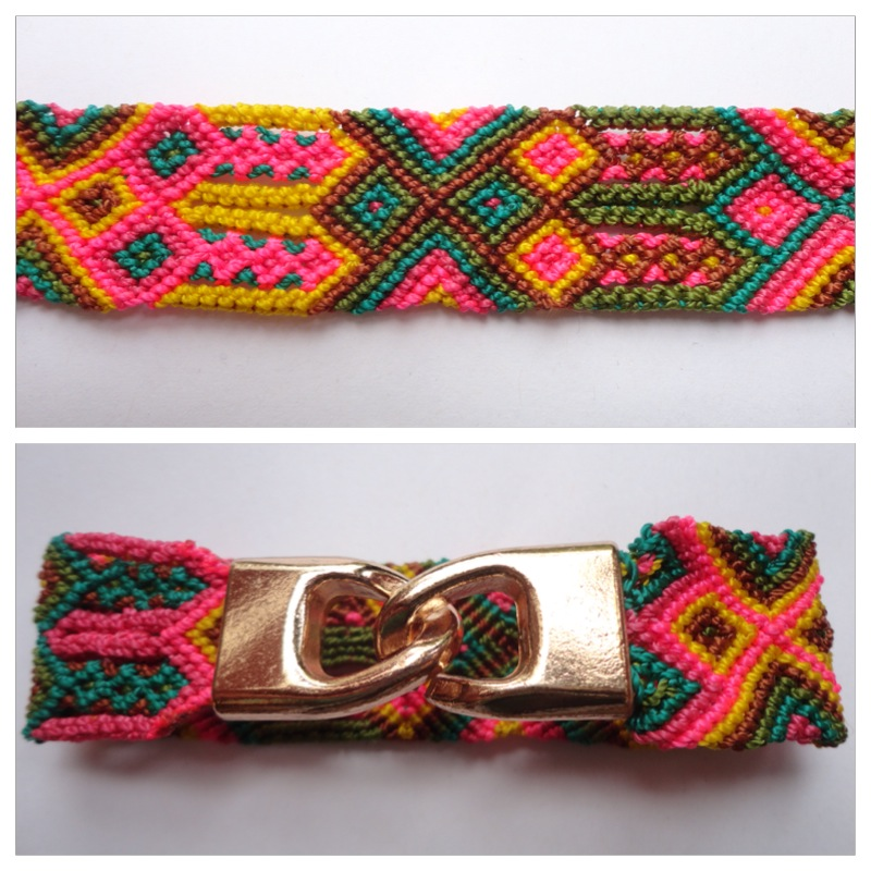 New Items / Large mexican friendship bracelet with golden hooks clasp - Style LH0001 / Unique hand woven bracelets that reflect the colorful mexican culture while keeping it chic. From the beach, to the bar, from the mountain, to the club, these bohemian art pieces are right for every occasion.