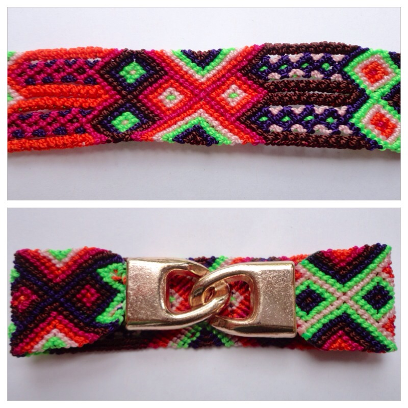 Large mexican friendship bracelet with golden hooks clasp - Style LH0002