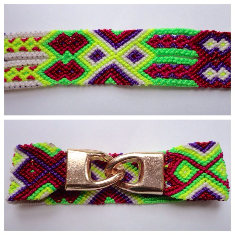 New Items / Large mexican friendship bracelet with golden hooks clasp - Style LH0003 / Unique hand woven bracelets that reflect the colorful mexican culture while keeping it chic. From the beach, to the bar, from the mountain, to the club, these bohemian art pieces are right for every occasion.