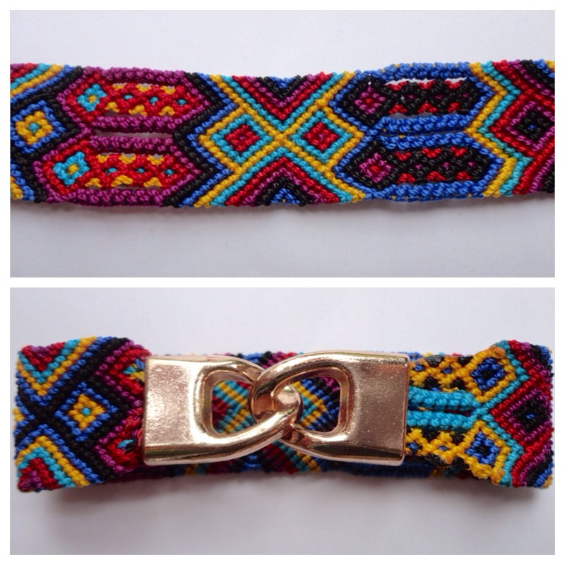 Large mexican friendship bracelet with golden hooks clasp - Style LH0004