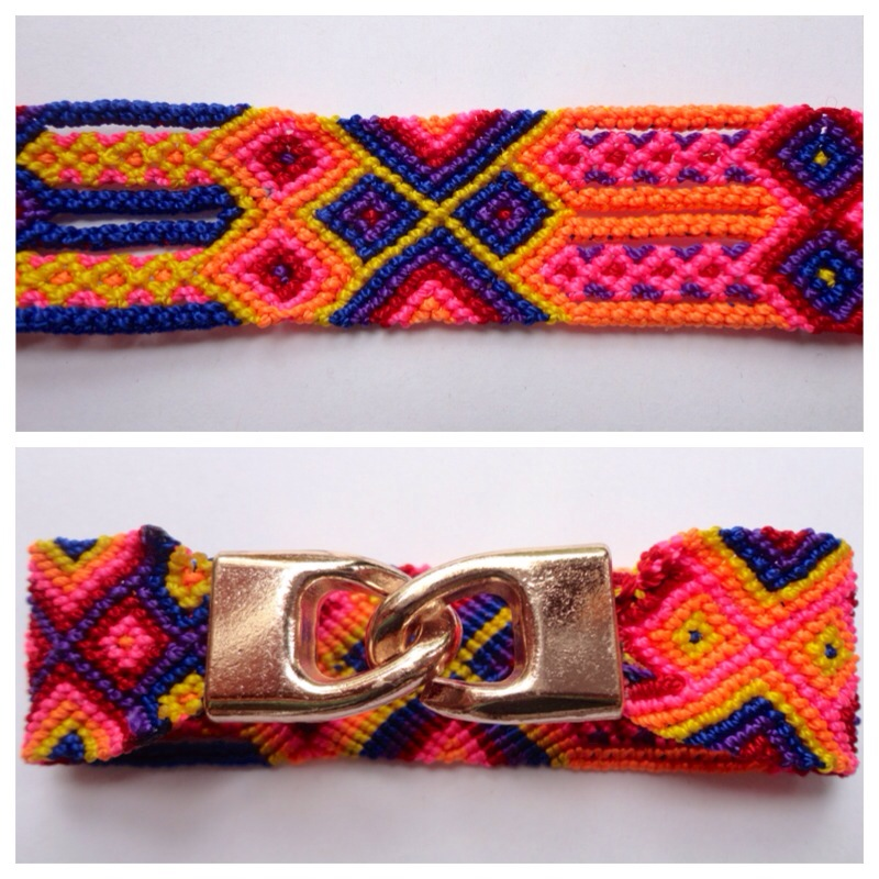 New Items / Large mexican friendship bracelet with golden hooks clasp - Style LH0011 / Unique hand woven bracelets that reflect the colorful mexican culture while keeping it chic. From the beach, to the bar, from the mountain, to the club, these bohemian art pieces are right for every occasion.