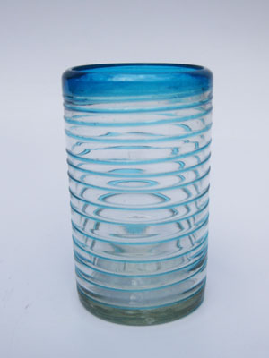 MEXICAN GLASSWARE / 'Aqua Blue Spiral' drinking glasses (set of 6)