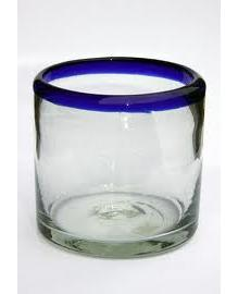 MEXICAN GLASSWARE / 'Cobalt Blue Rim' DOF - rock glasses (set of 6)