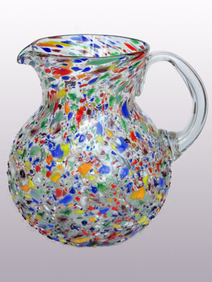 MEXICAN GLASSWARE / 'Confetti rocks' blown glass pitcher
