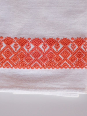 MEXICAN TEXTILES / Orange handwoven hand towel