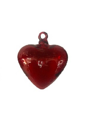 MEXICAN GLASSWARE / Red Blown Glass Hanging Hearts Large (set of 6)